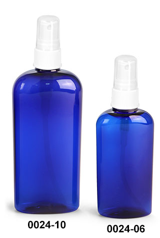 Plastic Bottles, Blue PET Cosmo Oval Bottles With White Ribbed Fine Mist Sprayers