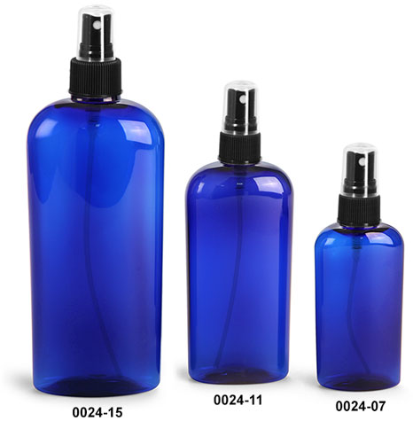 Plastic Bottles, Blue PET Cosmo Oval Bottles With Black Ribbed Fine Mist Sprayers