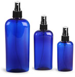 Blue PET Cosmo Oval Bottles w/ Black Ribbed Fine Mist Sprayers
