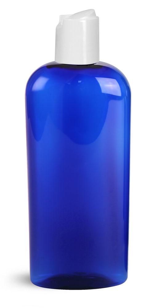 8 oz Blue PET Cosmo Ovals w/ White  Disc Top Caps