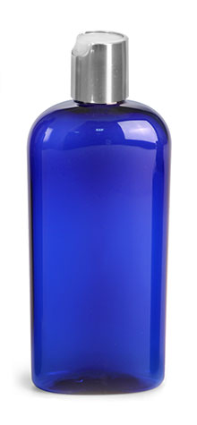 Plastic Bottles, Blue PET Cosmo Oval Bottles w/ Silver Disc Top Caps