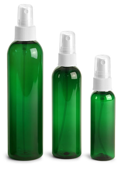 PET Plastic Bottles, Green Cosmo Round Bottles w/ White Ribbed Sprayers