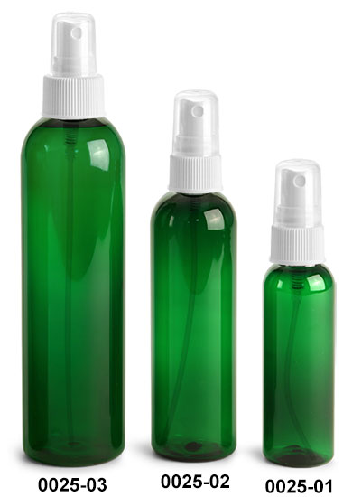 Plastic Bottles, Green PET Cosmo Round Bottles With White Ribbed Fine Mist Sprayers