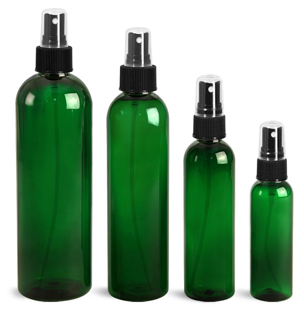 PET Plastic Bottles, Green Cosmo Round Bottles w/ Black Ribbed Sprayers