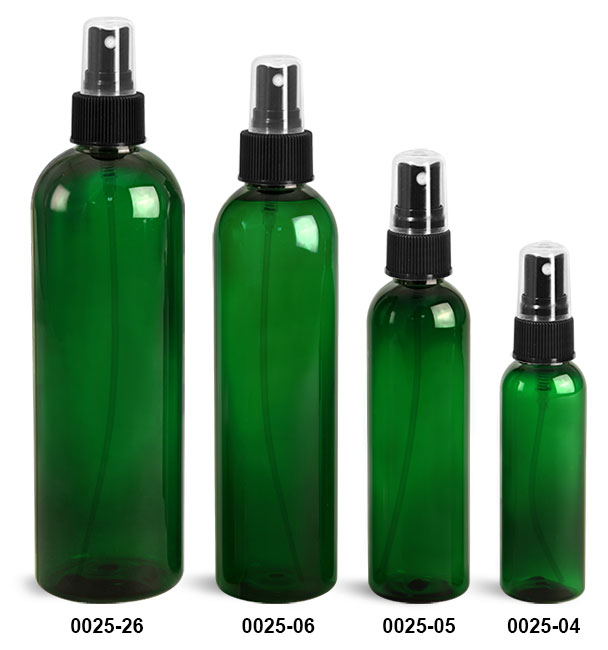 Plastic Bottles, Green PET Cosmo Round Bottles With Black Ribbed Fine Mist Sprayers
