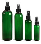 Green PET Cosmo Round Bottles w/ Black Ribbed Sprayers