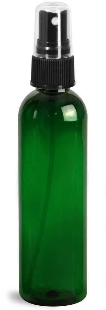 4 oz Green PET Cosmo Round Bottles w/ Black Sprayers