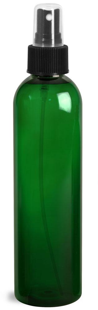 8 oz Green PET Cosmo Round Bottles w/ Black Sprayers