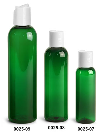 Plastic Bottles, Green PET Cosmo Round Bottles With Smooth White Disc Top Caps