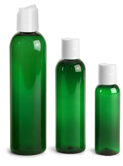 PET Plastic Bottles, Green Cosmo Round Bottles w/ White Disc Top Caps