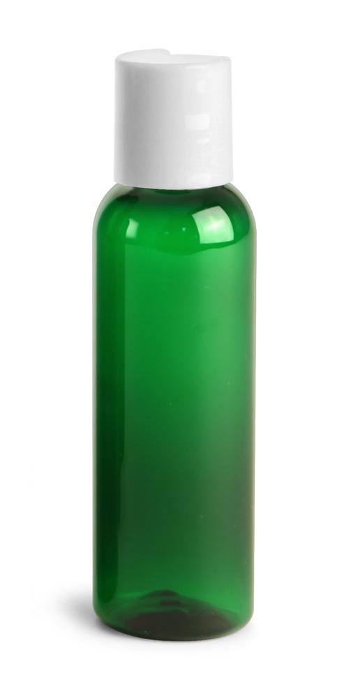 2 oz Green PET Cosmo Round Bottles w/ White Disc Top Caps