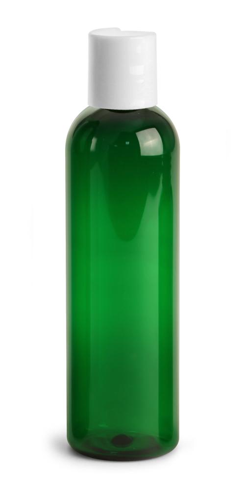 4 oz Green PET Cosmo Round Bottles w/ White Disc Top Caps