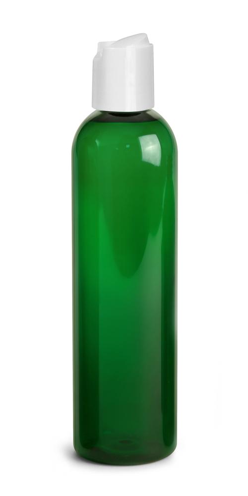 8 oz Green PET Cosmo Round Bottles w/ White Disc Top Caps