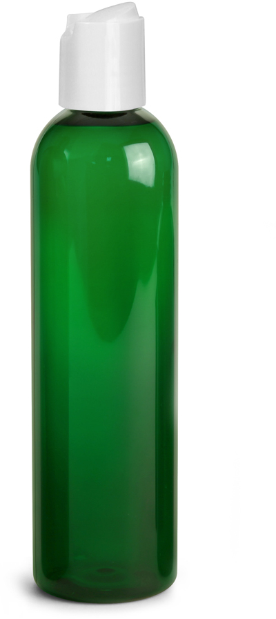 Green PET Cosmo Round Bottles w/ White Disc Top Caps