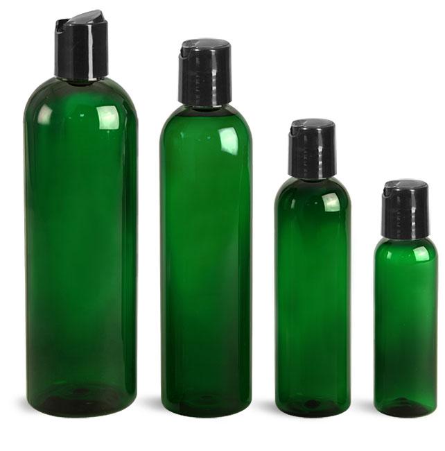 PET Plastic Bottles, Green Cosmo Round Bottles w/ Black Disc Top Caps