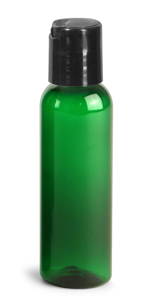 2 oz Green PET Cosmo Round Bottles w/ Black Disc Top Caps
