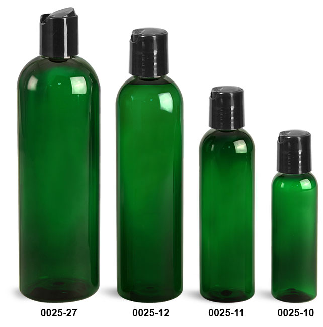 Plastic Bottles, Green PET Cosmo Round Bottles With Smooth Black Disc Top Caps