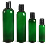 PET Plastic Bottles, Green Cosmo Round Bottles w/ Black Disc Top Caps