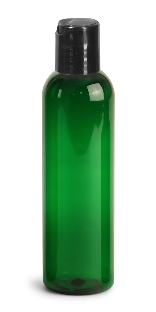 4 oz Green PET Cosmo Round Bottles w/ Black Disc Top Caps