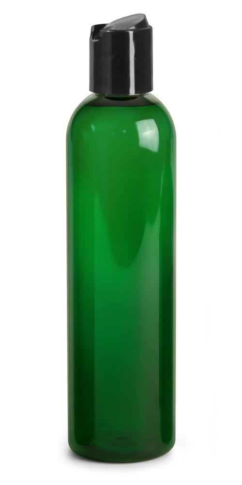 8 oz Green PET Cosmo Round Bottles w/ Black Disc Top Caps