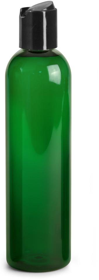 Green PET Cosmo Round Bottles w/ Black Disc Top Caps