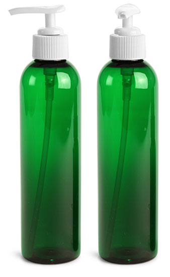 PET Plastic Bottles, Green Cosmo Round Bottles w/ White Lotion Pumps