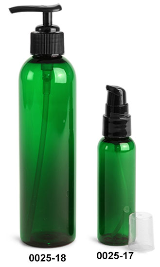 Plastic Bottles, Green PET Cosmo Round Bottles With Lotion Pumps & Treatment Pumps