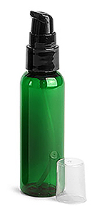 Green PET Cosmo Round Bottles w/ Black Treatment Pumps