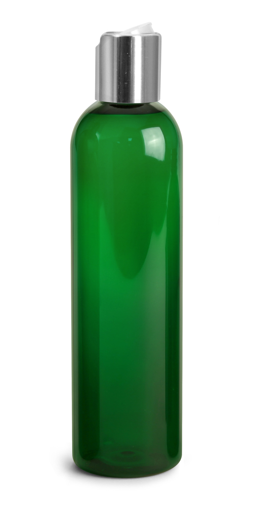 8 oz Green PET Cosmo Round Bottles w/ Silver Disc Top Caps