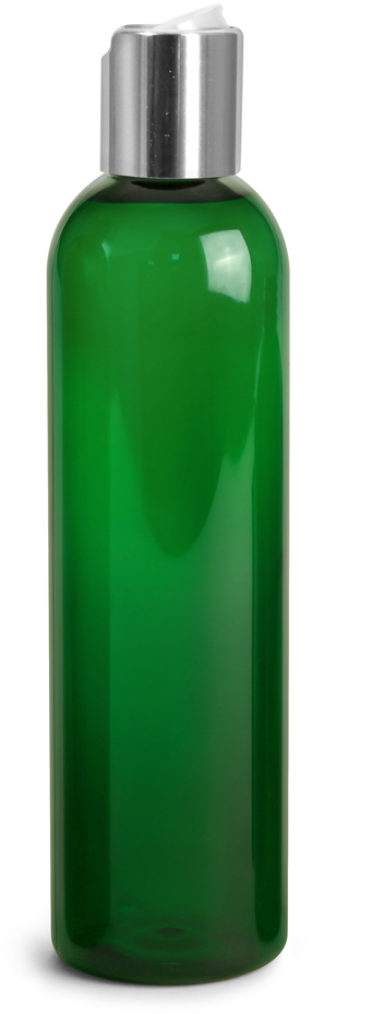 Green PET Cosmo Round Bottles w/ Silver Disc Top Caps