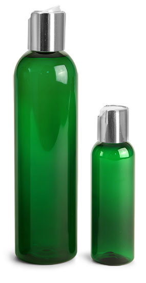 PET Plastic Bottles, Green Cosmo Round Bottles w/ Silver Disc Top Caps