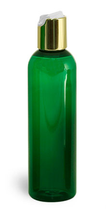 PET Plastic Bottles, Green Cosmo Round Bottles w/ Gold Disc Top Caps