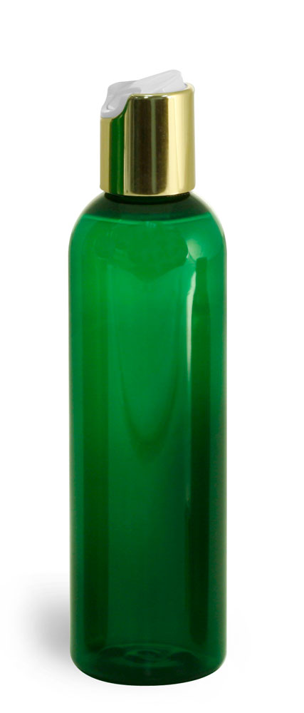 Green PET Cosmo Round Bottles w/ Gold Disc Top Caps
