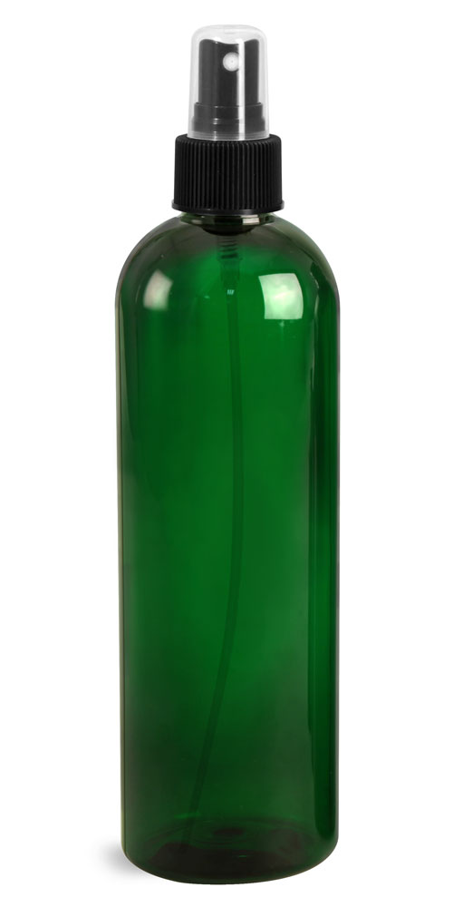16 oz Green PET Cosmo Rounds with Black Fine Mist Sprayers