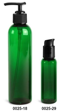 Plastic Bottles, Green PET Cosmo Round Bottles w/ Black Lotion Pumps & Treatment Pumps