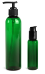 PET Plastic Bottles, Green Cosmo Round Bottles w/ Black Lotion Pumps & Treatment Pumps