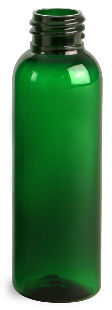 2 oz Green PET Cosmo Round Bottles (Bulk), Caps NOT Included