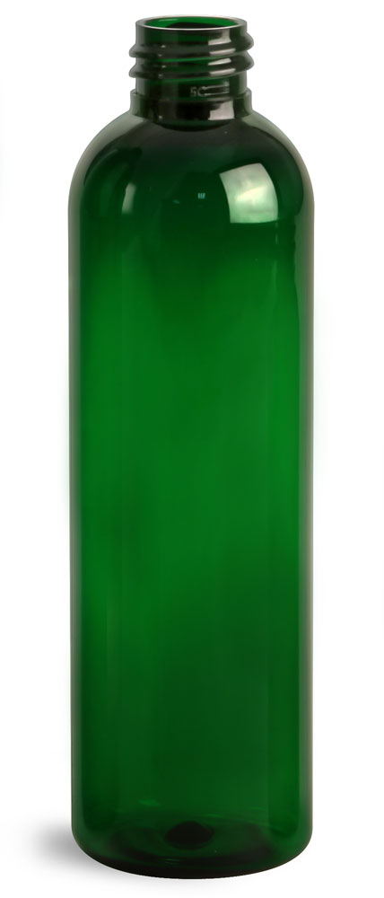 4 oz Green PET Cosmo Round Bottles (Bulk), Caps NOT Included