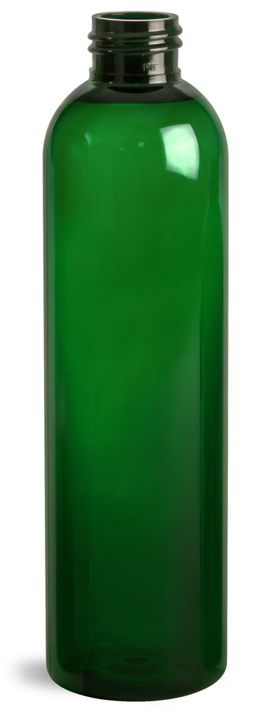 8 oz Green PET Cosmo Round Bottles (Bulk), Caps NOT Included