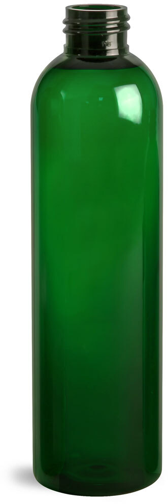 Green PET Cosmo Round Bottles (Bulk), Caps NOT Included
