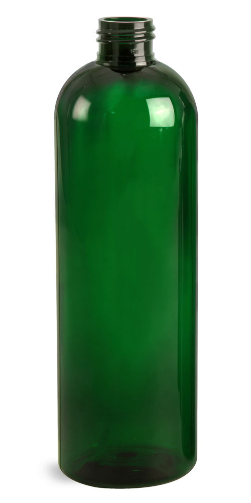 16 oz Green PET Cosmo Round Bottles (Bulk), Caps NOT Included