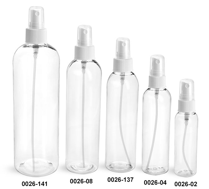 Plastic Bottles, Clear PET Cosmo Round Bottles With White Fine Mist Sprayers