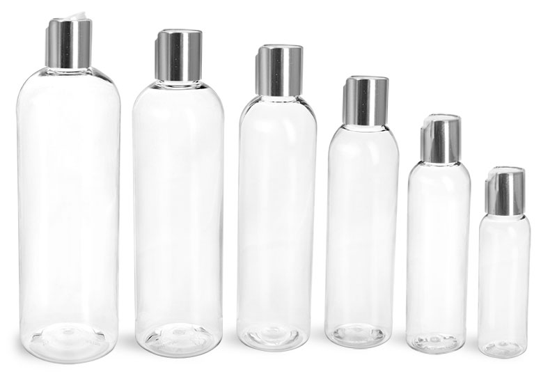 PET Plastic Bottles, Clear Cosmo Round Bottles w/ Smooth Silver Disc Top Caps
