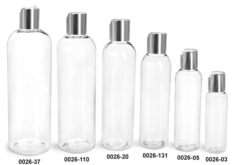 Plastic Bottles, Clear PET Cosmo Round Bottles With Smooth Silver Disc Top Caps