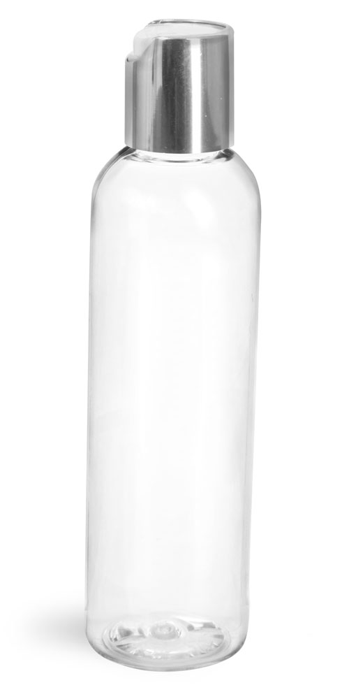 4 oz Clear PET Cosmo Round Bottles w/ Smooth Silver Disc Top Caps