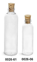 Plastic Bottles, Clear PET Cosmo Round Bottles w/ Cork Stopper