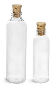 PET Plastic Bottles, Clear Cosmo Round Bottles w/ Cork Stopper