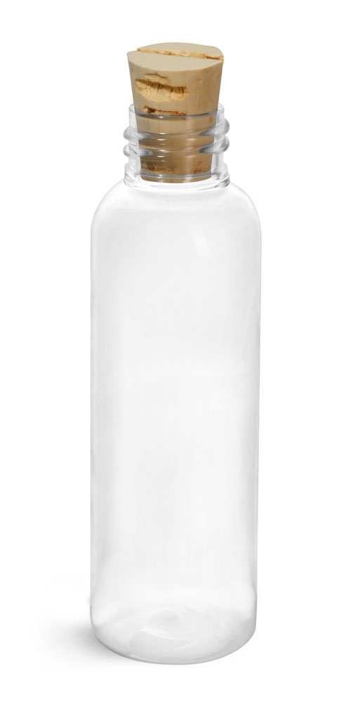 2 oz Clear PET Cosmo Round w/ Cork Stoppers
