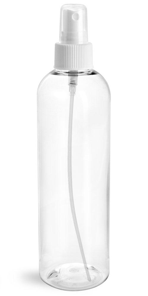 8 oz Clear PET Cosmo Round Bottles w/ White Fine Mist Sprayers