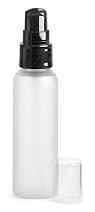 Plastic Bottles, Frosted PET Cosmo Round Bottles w/ Black Treatment Pumps